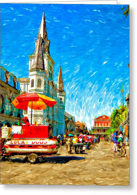 Lucky Dogs Greeting Cards - Jackson Square painted version Greeting Card by Steve Harrington