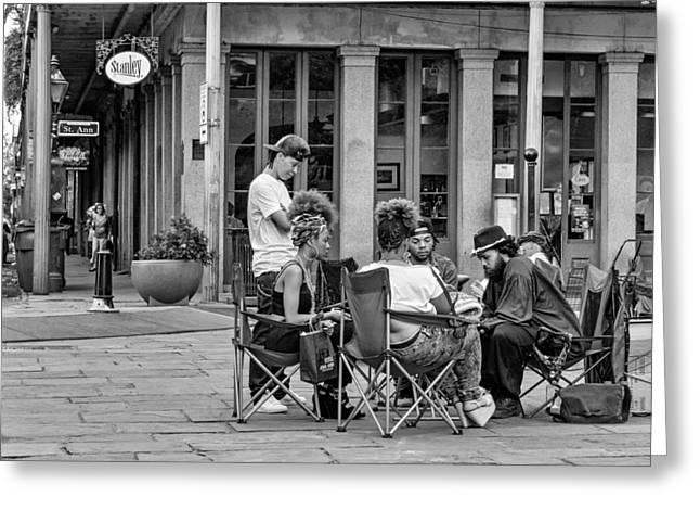 Flag Stone Greeting Cards - Jackson Square Reading 2 Bw Greeting Card by Steve Harrington