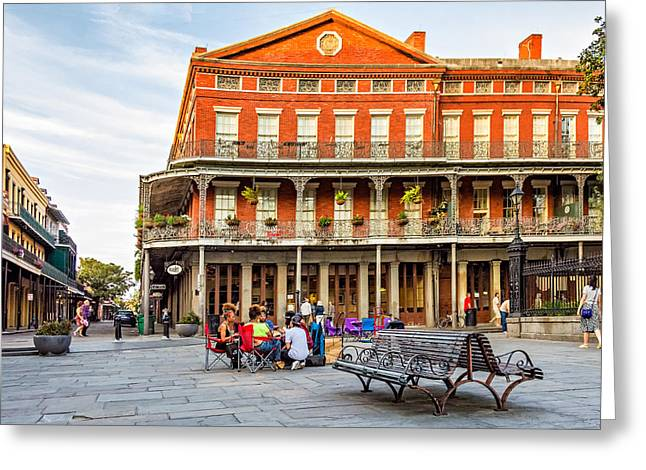 Flag Stones Greeting Cards - Jackson Square Reading Greeting Card by Steve Harrington