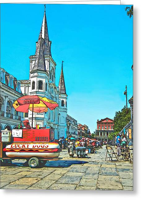 Lucky Dogs Greeting Cards - Jackson Square sketch Greeting Card by Steve Harrington