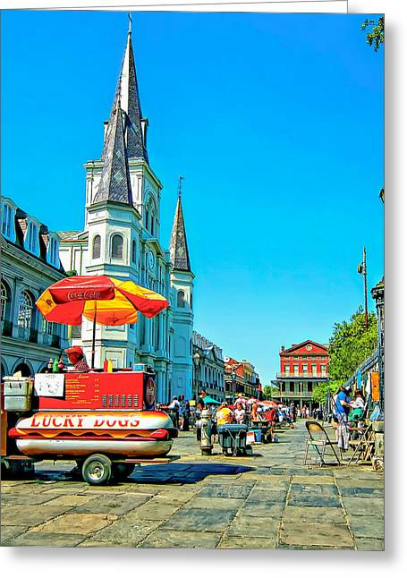 Lucky Dogs Greeting Cards - Jackson Square Greeting Card by Steve Harrington