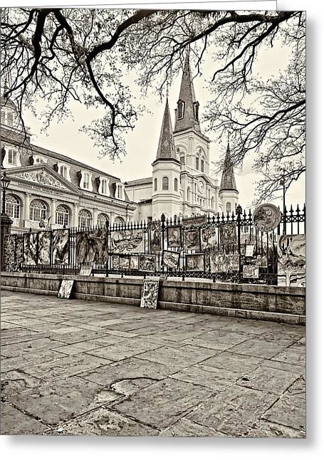 French Quarter Photographs Greeting Cards - Jackson Square Winter sepia Greeting Card by Steve Harrington