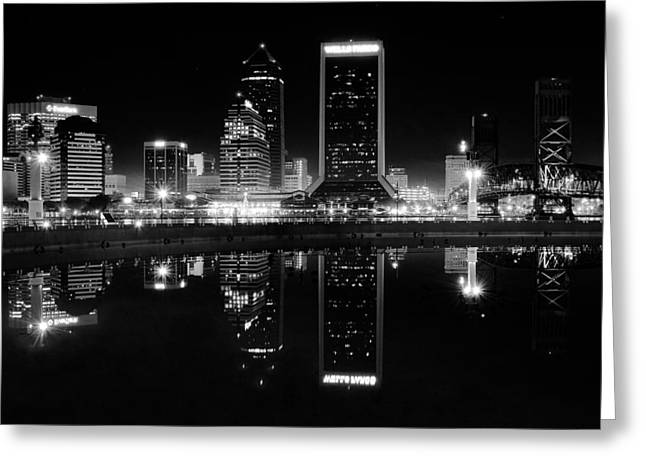 Jacksonille Black And White Night Greeting Card by Frozen in Time Fine Art Photography