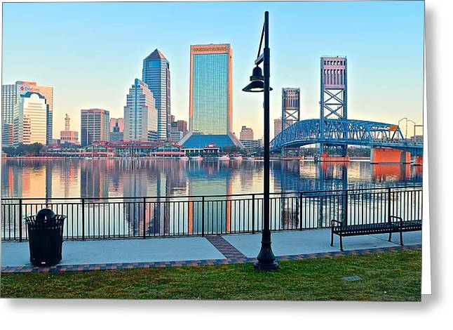Jacksonville Florida Greeting Cards - Jacksonville Across the St Johns River Greeting Card by Frozen in Time Fine Art Photography