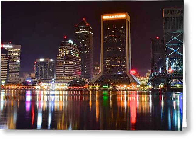 Jaguars Greeting Cards - Jacksonville Aglow Greeting Card by Frozen in Time Fine Art Photography