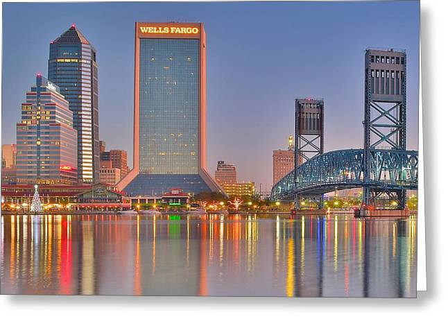 Jacksonville Greeting Cards - Jacksonville Alight at Daybreak Greeting Card by Frozen in Time Fine Art Photography