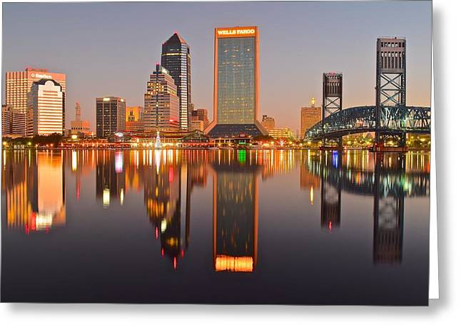 Jacksonville Greeting Cards - Jacksonville at Dawn Greeting Card by Frozen in Time Fine Art Photography