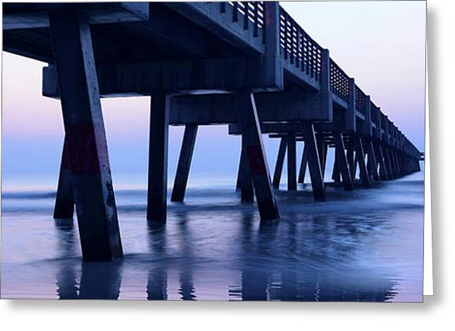 Jacksonville Greeting Cards - Jacksonville Beach Pier Panorama No.2 Greeting Card by Marc Ward Photography