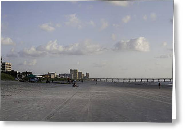 Jacksonville Greeting Cards - Jacksonville Beach Sunrise Panorama Greeting Card by Lynn Palmer