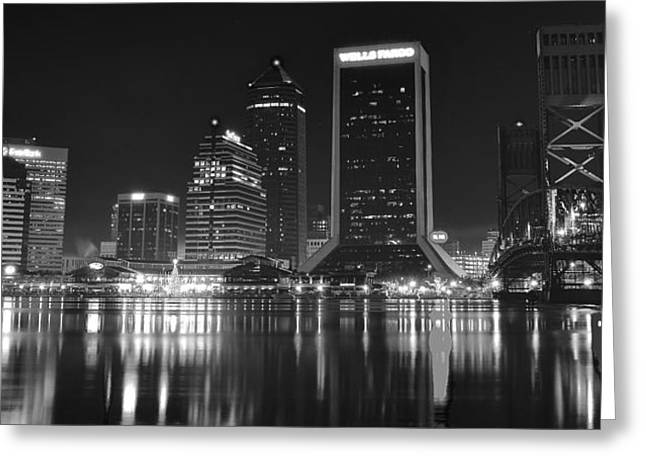 Jacksonville Greeting Cards - Jacksonville Black and White Night Greeting Card by Frozen in Time Fine Art Photography
