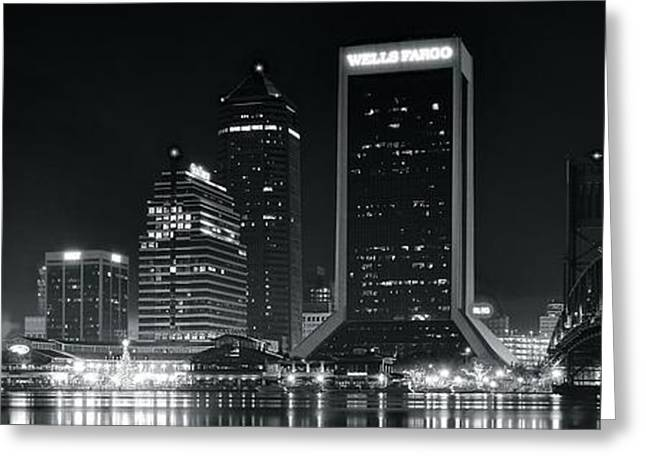 Jacksonville Greeting Cards - Jacksonville Black and White Panorama Greeting Card by Frozen in Time Fine Art Photography