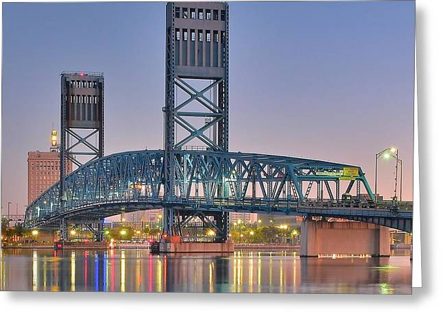 Jacksonville Greeting Cards - Jacksonville Blue Bridge Greeting Card by Frozen in Time Fine Art Photography
