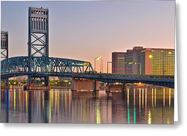 Jacksonville Greeting Cards - Jacksonville Bridge at Daybreak Greeting Card by Frozen in Time Fine Art Photography