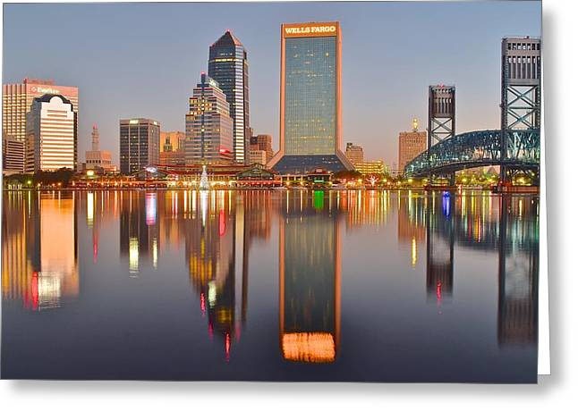 Inner World Greeting Cards - Jacksonville Florida at Daybreak Greeting Card by Frozen in Time Fine Art Photography