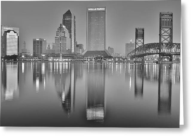 Jacksonville Greeting Cards - Jacksonville Florida Black and White Panoramic View Greeting Card by Frozen in Time Fine Art Photography