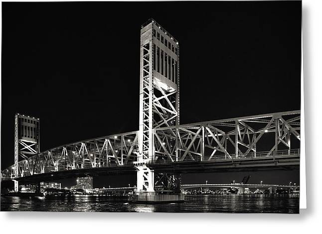 Nighttime Greeting Cards - Jacksonville Florida Main Street Bridge Greeting Card by Christine Till
