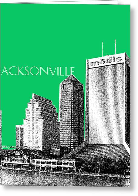 Jacksonville Florida Greeting Cards - Jacksonville Florida Skyline - Green Greeting Card by DB Artist
