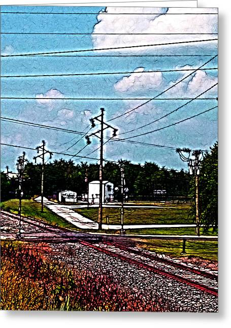 Intrigue Greeting Cards - Jacksonville IL Rail Crossing 2 Greeting Card by Jeff Iverson