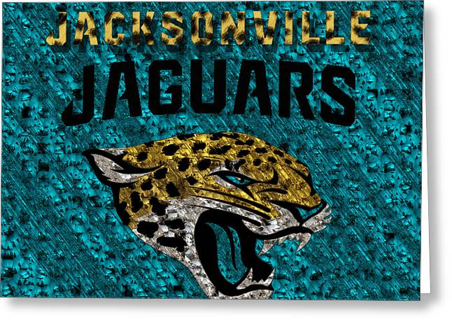 Jacksonville Florida Greeting Cards - Jacksonville Jaguars Greeting Card by Jack Zulli