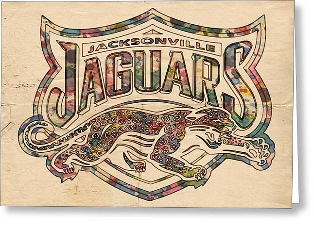 Jacksonville Digital Greeting Cards - Jacksonville Jaguars Poster Vintage Greeting Card by Florian Rodarte