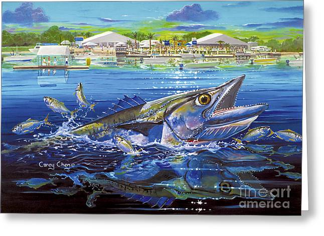 Mackerel Greeting Cards - Jacksonville Kingfish Off0088 Greeting Card by Carey Chen
