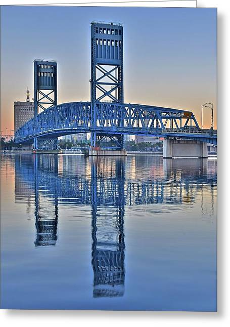 Jacksonville Florida Greeting Cards - Jacksonville Main Street Bridge Greeting Card by Frozen in Time Fine Art Photography