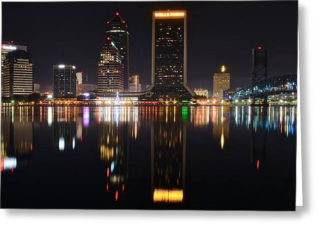 Citizens Greeting Cards - Jacksonville Night Panorama Greeting Card by Frozen in Time Fine Art Photography