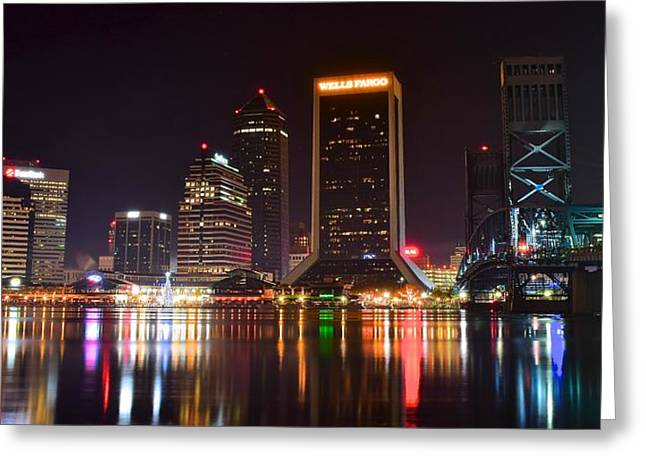 Jacksonville Florida Greeting Cards - Jacksonville Night Greeting Card by Frozen in Time Fine Art Photography