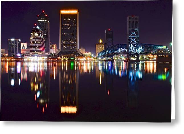 Jacksonville Greeting Cards - Jacksonville Night Mirror Image Greeting Card by Frozen in Time Fine Art Photography