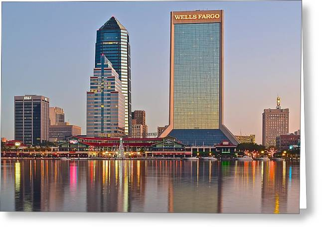 Jacksonville Florida Greeting Cards - Jacksonville Over St Johns River Greeting Card by Frozen in Time Fine Art Photography