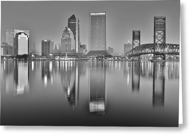 Jacksonville Greeting Cards - Jacksonville Reflecting in Black and White Greeting Card by Frozen in Time Fine Art Photography