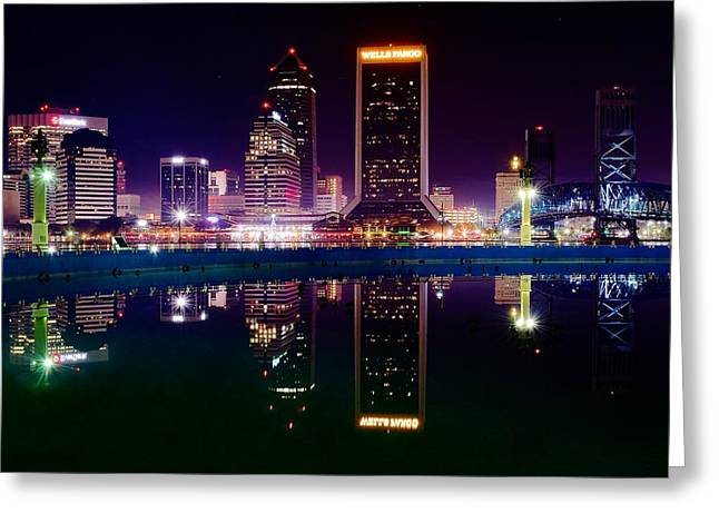 Jacksonville Greeting Cards - Jacksonville Reflects Greeting Card by Frozen in Time Fine Art Photography