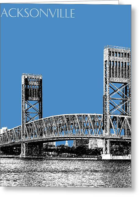 Florida Art Greeting Cards - Jacksonville Skyline 2  Main Street Bridge - Slate Blue Greeting Card by DB Artist