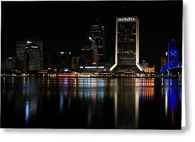 Jacksonville Florida Greeting Cards - Jacksonville Skyline at Night Greeting Card by Nomad Art And  Design