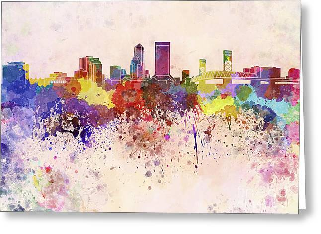 Jacksonville Greeting Cards - Jacksonville skyline in watercolor background Greeting Card by Pablo Romero