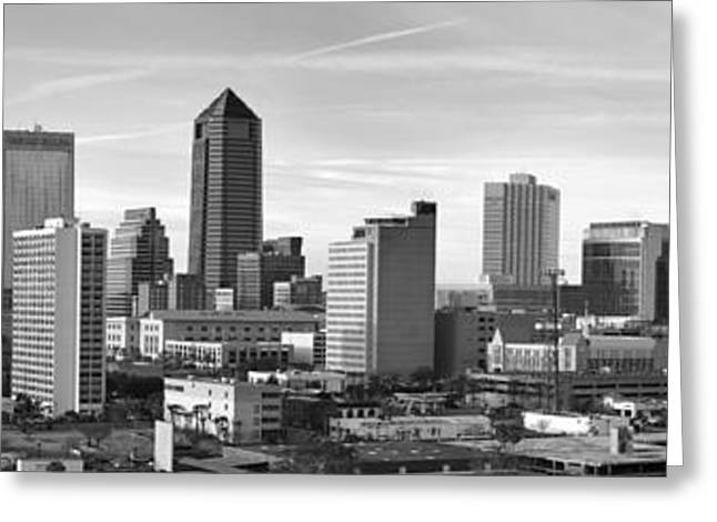 Jacksonville Greeting Cards - Jacksonville Skyline Morning Day Black and White BW Panorama Florida Greeting Card by Jon Holiday