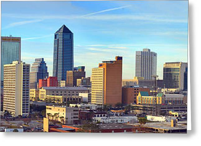 Jacksonville Greeting Cards - Jacksonville Skyline Morning Day Color Panorama Florida Greeting Card by Jon Holiday