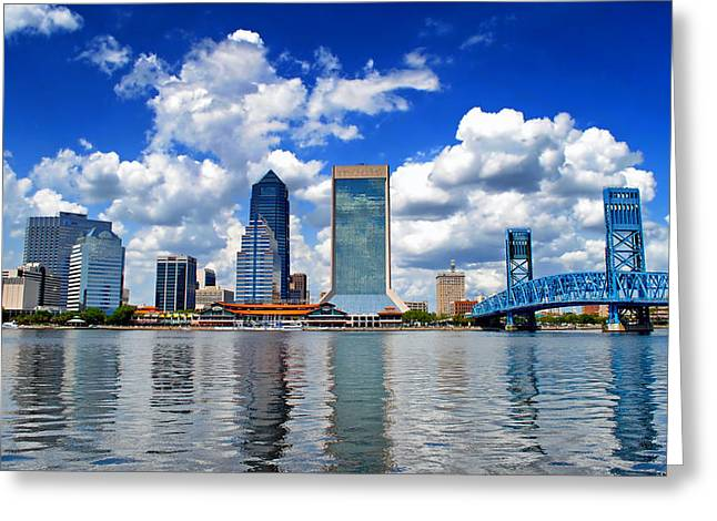 Jacksonville Greeting Cards - Jacksonville Skyline Greeting Card by Mountain Dreams