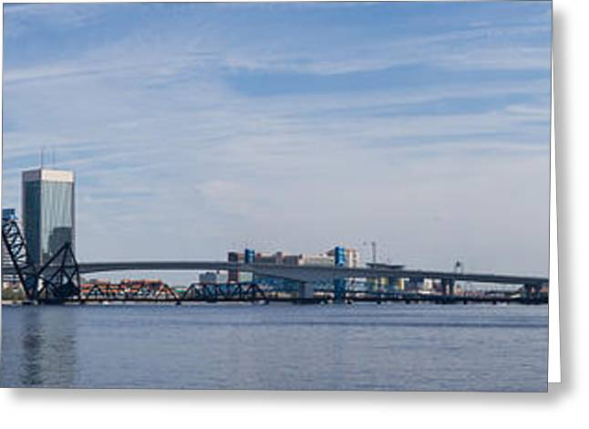 Jacksonville Greeting Cards - Jacksonville skyline panoramic Greeting Card by Ules Barnwell