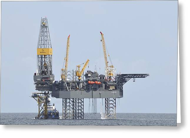 Sea Platform Greeting Cards - Jackup Oil RIg Greeting Card by Bradford Martin