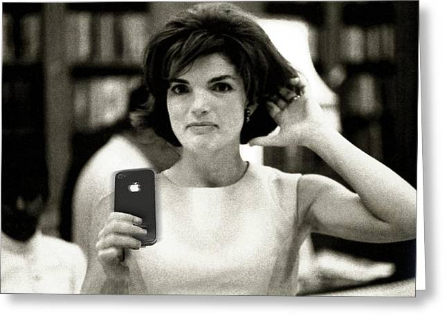 Art Mobile Greeting Cards - Jacky Kennedy Takes A Selfie Greeting Card by Tony Rubino
