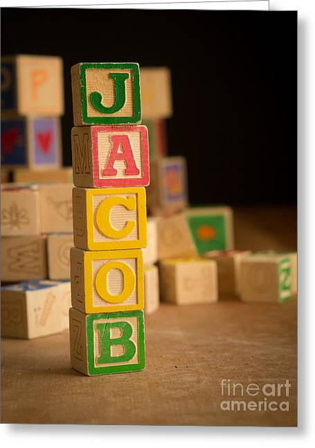Jacobs Greeting Cards - JACOB - Alphabet Blocks Greeting Card by Edward Fielding
