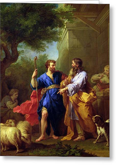 Jacob And Laban, Before 1737 Oil On Canvas Greeting Card by Jean II Restout