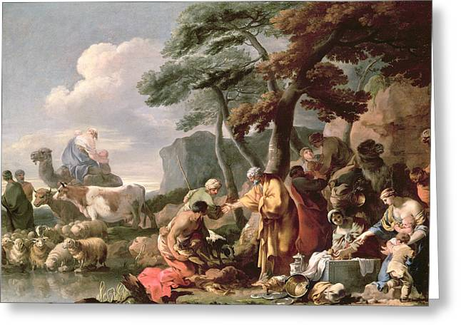 Genesis Greeting Cards - Jacob Burying The Strange Gods Under The Oak By Shechem Oil On Canvas Greeting Card by Sebastien Bourdon