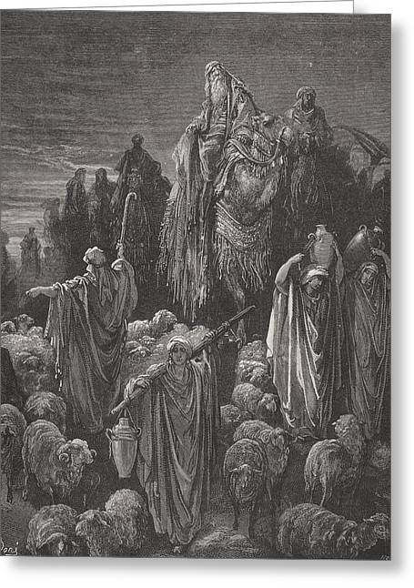 The Holy Bible Greeting Cards - Jacob Goeth Into Egypt Greeting Card by Gustave Dore