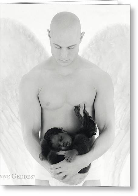 Angel Greeting Cards - Jacob holding Khaleah Greeting Card by Anne Geddes