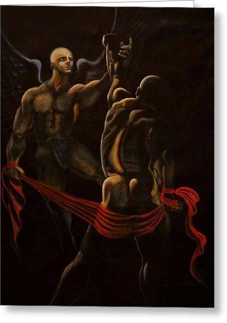Black White Spiritual Angel Art Greeting Cards - Jacob wrestling with the Angel Greeting Card by Giorgio Tuscani