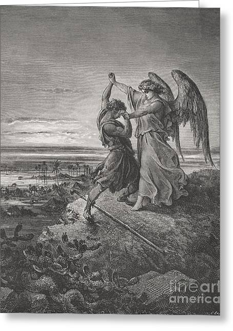 Jacobs Greeting Cards - Jacob Wrestling with the Angel Greeting Card by Gustave Dore