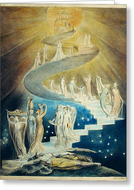 William Blake Greeting Cards - Jacobs Dream Greeting Card by William Blake