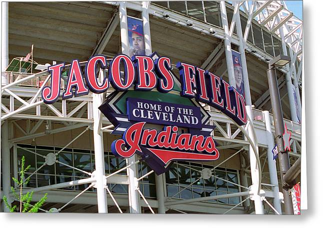 Baseball Art Photographs Greeting Cards - Jacobs Field - Cleveland Indians Greeting Card by Frank Romeo